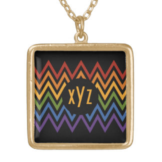 Rainbow Chevron Pattern custom necklace
