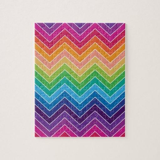 Rainbow Chevron Pattern Modern gifts Jigsaw Puzzles