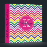 """Rainbow Chevron Personalized Monogram Binder<br><div class=""""desc"""">This personalized monogram binder features a chevron zigzag pattern background with a frame for your monogram initial and name. Makes a great gift personalized for all occasions. Easily customize and personalize this editable binder. Click on the &quot;Customize it!&quot; button to change the text size, text color, font style, add additional...</div>"""