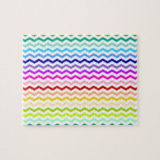 Rainbow chevron jigsaw puzzles
