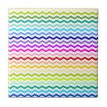 Rainbow chevron small square tile