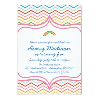 Rainbow Chevron STripe  Modern Birthday Party Card