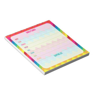 Rainbow Chevron Weekly Dinner Planner Memo Note Pads