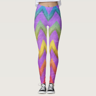Rainbow Chevron with Shadows-Scratched by STaylor Leggings