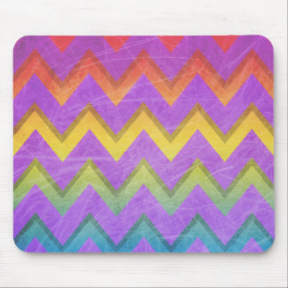 Rainbow Chevron With Shadows-Scratched Mouse Pads