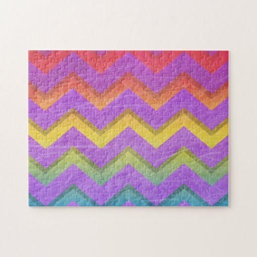 Rainbow Chevron With Shadows-Scratched Jigsaw Puzzle