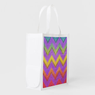 Rainbow Chevron With Shadows-Scratched Reusable Grocery Bags
