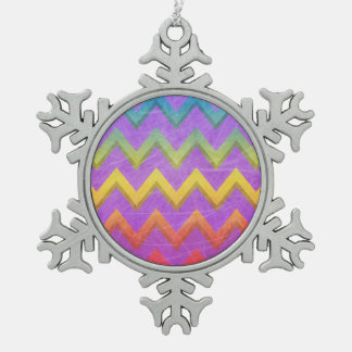 Rainbow Chevron With Shadows-Scratched Snowflake Pewter Christmas Ornament