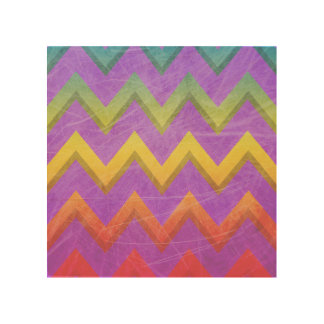 Rainbow Chevron With Shadows-Scratched Wood Wall Art