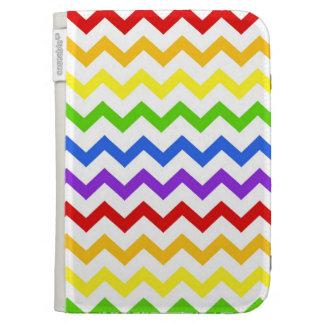 Rainbow chevron zigzag kawaii cute zig zag pattern kindle folio case