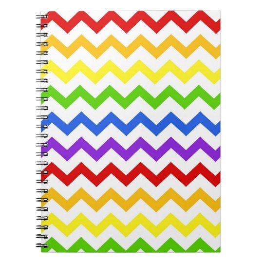 Rainbow chevron zigzag kawaii cute zig zag pattern notebook