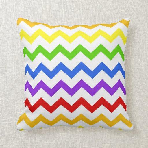 Rainbow chevron zigzag kawaii cute zig zag pattern throw pillow