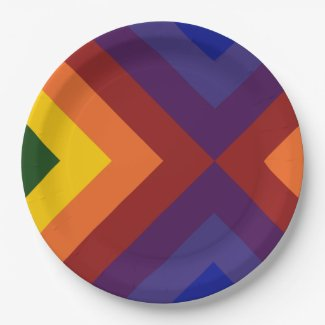 Rainbow Chevrons 9 Inch Paper Plate