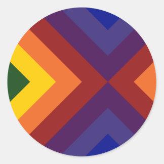 Rainbow Chevrons Classic Round Sticker