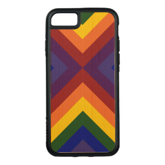 Rainbow Chevrons on Natural Wood Carved iPhone 7 Case