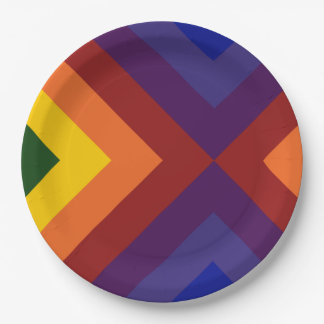 Rainbow Chevrons 9 Inch Paper Plate