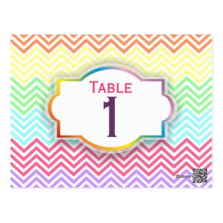Rainbow Chevrons Table Number Postcard