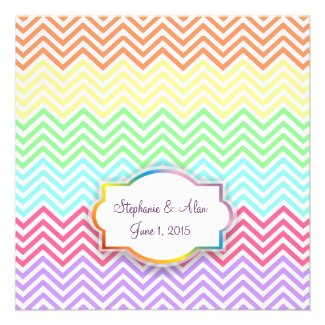 Rainbow Chevrons Wedding Invitations