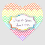 Rainbow Chevrons Wedding Stickers