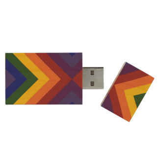 Rainbow Chevrons Wood USB Flash Drive