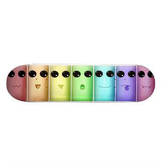 Rainbow Chibi Faces Skateboard