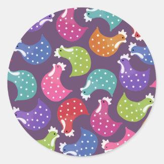 Rainbow Chicken Hen Pattern Sticker Label