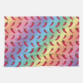 Rainbow chili peppers pattern hand towel
