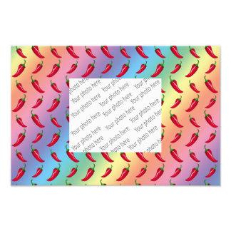 Rainbow chili peppers pattern photo print