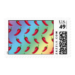 Rainbow chili peppers pattern postage stamp