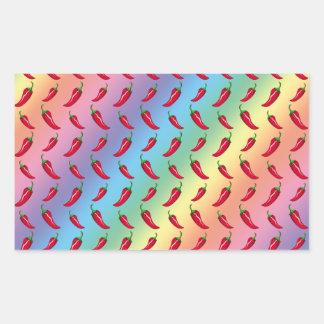 Rainbow chili peppers pattern rectangular sticker