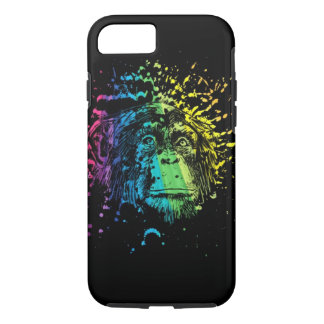 Rainbow Chimpanzee on Black iPhone 7 Case