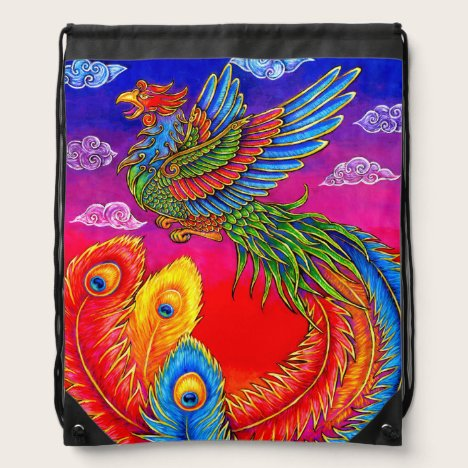 Rainbow Chinese Phoenix Bird Drawstring Backpack