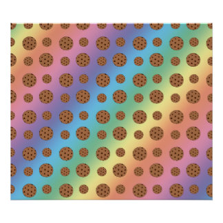 Rainbow chocolate chip cookies pattern poster