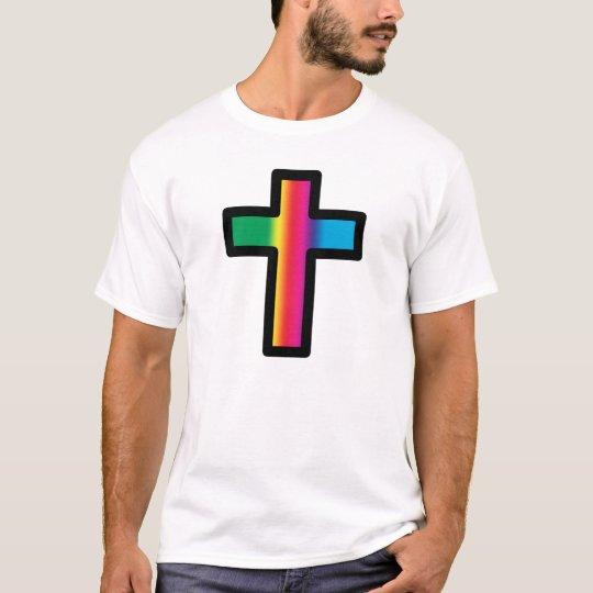 Rainbow Christian Cross T-Shirt