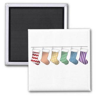 Rainbow Christmas Stockings Magnet