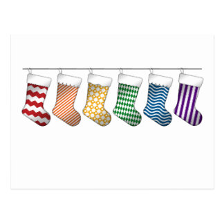 Rainbow Christmas Stockings Postcard