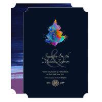 Rainbow Christmas Tree COUPLES Event Navy Invitation