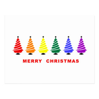 Rainbow Christmas Tree Postcard