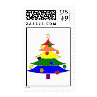 rainbow Christmas tree stamp