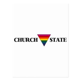 Rainbow church triangle state postcard