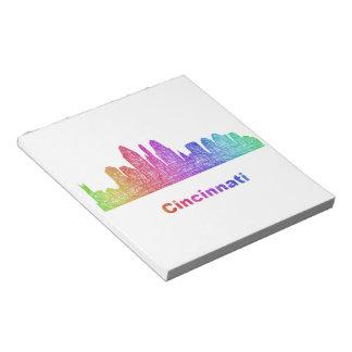 Rainbow Cincinnati skyline Notepad