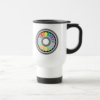 rainbow circle design travel mug