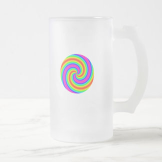 Rainbow Circle Frosted Glass Beer Mug