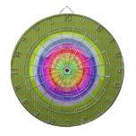 Rainbow Circle n Green Base Dartboards