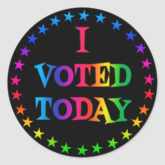 "Rainbow Circle of Stars ""I Voted Today"" LGBT 3"" Classic Round Sticker"