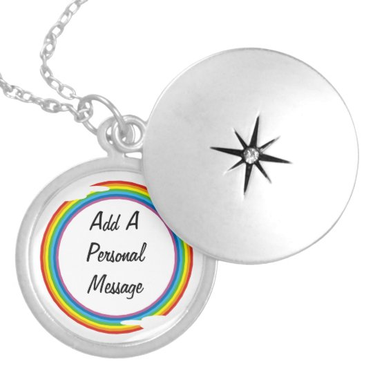 rainbow circle template silver plated necklace zazzle com