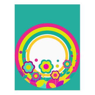 Rainbow Circle With Flowers Postcard