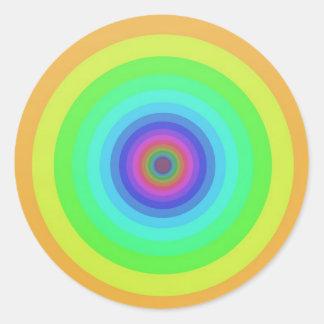 Rainbow circles classic round sticker
