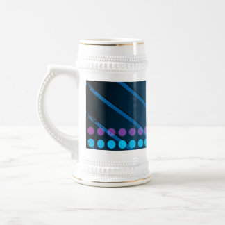 Rainbow Circles Layout over Blue Metal Beer Stein