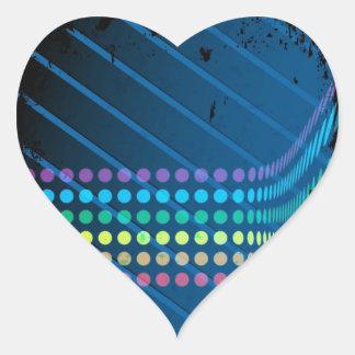Rainbow Circles Layout over Blue Metal Heart Sticker